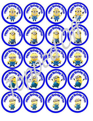 Birthday - Minions & Name Personalised (x20) Round Un-Cut