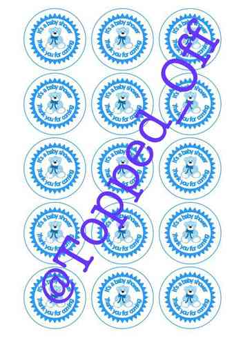 Baby Shower Teddy in Blue (x15) Round Machined Pre-Cut Cupcake Topper