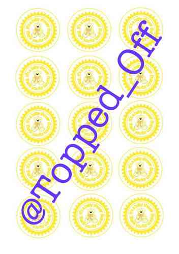Baby Shower Teddy in Yellow (x15) Round Machined Pre-Cut Cupcake Topper