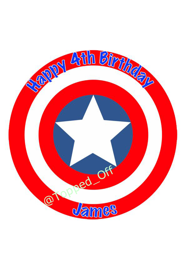 Captain America shield Personalised 75 round Icing Sheet Cake