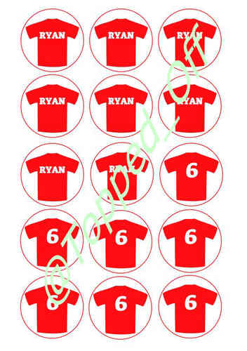 Red personalised football shirts  (x15) Round Machine Pre-Cut