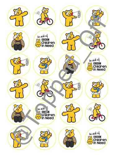 "Pudsey Bear 24 round 1.5"" (3.8cm) pre-cut edible cupcake topper decorations"